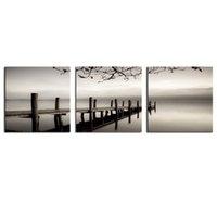 3 панели Черный и белый Деревянный мост Живопись Giclee Картины Пейзаж Картинная картинка Настенная живопись Деревянная рамка для домашнего декора