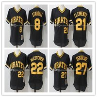 Men's Throwback Pittsburgh Pirates # 8 Willie Stargell # 27 Tekulve # 21 Clemente # 22 Mccutchen Jersey Mitchell Maillot de baseball en maille cousue