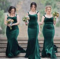 Урожай 2017 Новый дизайн Hunter Зеленый бархат Русалка невесты платья длинные дешевые спагетти плюс размер горничной платье чести платья