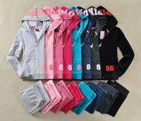 Women Pink Tracksuits Velvet Suits Tops Hoodie Sweatshirt Pa...