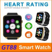 GT88 SIM Card Bluetooth Sports Smart Watch avec moniteur de fréquence cardiaque et de montre téléphone Mate Smartphone indépendant pour Android IOS 5pcs