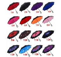 Haute qualité coupe-vent inversé double pliage inversé parapluie Chuva Self Stand à l'extérieur Protection contre la pluie C-Hook Mains