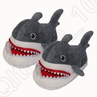 Отсасывать Акулы SOS Плюшевые тапочка зимы теплые Симпатичные мягкие куклы обувь Крытый тапочки косплей игрушки OOA976