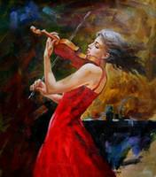 Девочка играть на скрипке в красном, чисто Ручная роспись современной абстрактной декор дома Арт картина маслом на Толстые Canvas.Multi Размер свободной перевозкой груза Ab014
