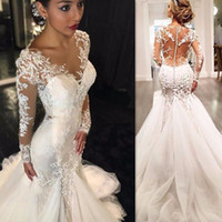 2017 Sexy Long Sleeves Wedding Dresses Mermaid Illusion Shee...