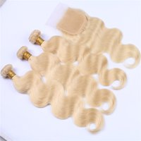 Brazilian Human Hair Blonde Weaves With Closure Body Wave Pu...