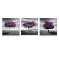 3 картины холстины холстины вала валов пурпуровые картины искусства прерии пурпуровые с деревянным обрамленным для домашнего декора как подарки
