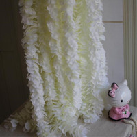 White Artificial Silk Flower Rattan Orchid Wisteria Vines 39...