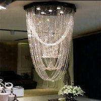Penthouse Floor Stair Lamp Long Chandelier Villa LED Crystal...