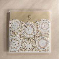 Unique invitations high class pearl floral hollow invitation...
