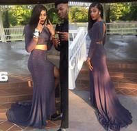 Vestido De Festa Sexy Grey Two Pieces Prom Dresses Luxury Be...