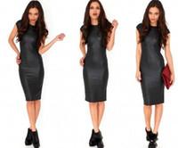 Sexy женщин Bodycon Платья Кожа PU брюки карандаш длиной до колена с коротким рукавом черное платье Назад Clubwear Hip Maxi Повседневные платья для женщин