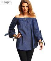 2017 Off mulheres denim blusa camisa blusa solta blusa casual manga comprida Casual manga Denim Jeans Shirts Tops