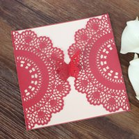 Wed invitation red laser cut butterfly invitations for marri...
