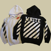 OFF WHITE 2017 Men Hoodie Sweatshirt Brand Vestuário Stripes Print Hip Hop Pullover Sweater Outono Inverno Fleece Hood Jacket Casaco YBG0407