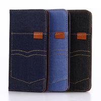 Cowboy jean poche photo frame design flip wallet kickstand cas pour iphone 7 iphone 7 plus NOTE 7 S7 EDGE S7 IPHONE 5SE