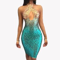 New Sequin Vestidos de verão Ladies Ombre Short Evening Prom Dress Cross Front Halter Cocktail Party Vestidos Vestidos LJG0605