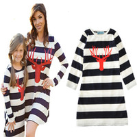 stripe mother daughter dresses clothes family look 2017 autu...