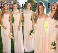 Blush Pink Дешевые Country Style Платья для подружек невесты 2016 Длинные линия шифон Boho горничной честь мантий Свадьбы платья Bridesmaids партии