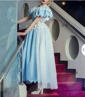 Длина Прекрасный свет голубой чай платья выпускного вечера Линия Jewel шеи Короткие рукава арабский Дубай Стиль Длинные Формальное партии вечера Wears Gowns