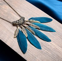 Sweater chain Feather Necklace Retro leaf Bohemia Hollow Out...
