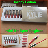 Кайли блеск для губ Mini Kit Holiday Edition, 6шт комплект KIT МАТОВЫЙ LIQUID помад GLOSS помады матовые помады коллекция Рождественский подарок