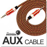 Vente en gros Câble AUX 3,5 mm Nylon tressé Tangle-Free câble audio auxiliaire 5ft 1,5 m pour casque iPods iPhones iPads Accueil Stéréo voiture