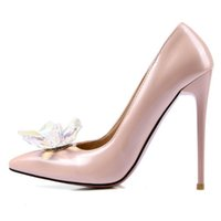Real Leather flower materail pumps with high stiletto heel a...