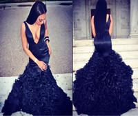 Navy Blue Long Mermaid Prom Dresses 2017 For Black Girls V N...