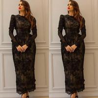 Black 2017 Sheath Lace Evening Dresses Beaded Appliques Jewe...