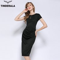 TINDERALA 2017 women summer dress solid color elegant short ...
