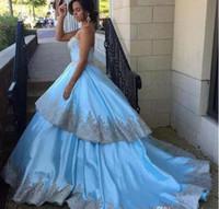 Светло-голубой атласное бальное платье Пром платья Layered Lace Аппликации знаменитости вечернее платье Длинные Назад Zipper Vestidos платья Формальные партии