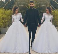 2K17 Саид Mhamad Свадебные платья Jewel Sheer шею с длинными рукавами с кружевом аппликации свадебное платье Back молнии многоуровневой Ruffles на заказ платья