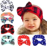 Baby Girls Rabbit Ears Bow Headband Infant DIY Plaid Dots Tr...