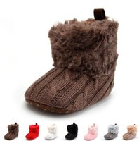 Baby Girl Warm Walkers Shoes Winter Crochet Knit Fleece Ankl...