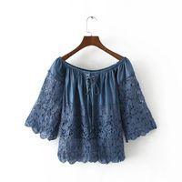 Mulheres Denim Lace Shirt Off Top Colheita Ombro Slash pescoço Oco Out Bow Jeans Wear Blusa Azul Blusas Camisas Roupas
