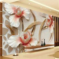 Wholesale- Custom 3d photo wallpaper 3D relief Lily stylish m...