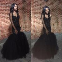 Черные девушки выпускного вечера Mermaid платья 2K17 Новый Милая бисером Backless Ruched тюль этаж Длина Вечерние платья красного ковра платья 2017 года