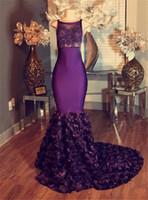 Пурпурная Русалка Кружева аппликация Длинные платья Пром 2017 рукавов с цветком-поезда Длинные Sheer Элегантное вечернее платье