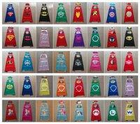 44 Styles Double Side Cape and Mask 70*70cm Super Hero Girl ...