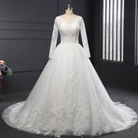 2017 Real Photos Illusion Long Sleeves Plus Size A- Line Wedd...