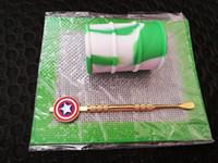 Silicone Wax Kit Set avec des plaques carrées pads baril mat 26ml contenant de l'huile de silicium Captain America outil dabber pour les pots d'herbes sèches dab