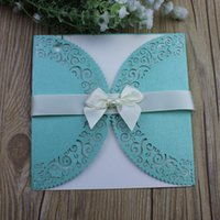 Invitations with pearl jewelry butterfy ribbon laser cut wed...