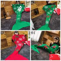 Рождество Трикотажное хвост русалки Одеяло 180 * 90см Mermaid Одеяло Кондиционер Одеяло ручной работы Мягкая вязания Кровать Wrap спальный мешок OOA937
