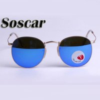 Soscar Round Metal Polarized Sunglasses for Men Women UV400 ...