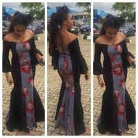 2017 primavera Tradicional africano étnico roupa Dashiki Sexy preto longo preto Imprimir nacional Long Sleeve Club ocasião vestido de festa