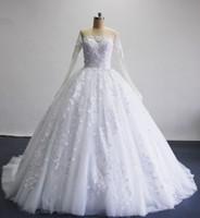 3D-цветочные Аппликации Свадебные платья Иллюзия Sheer шеи длинными рукавами Узелок Тюль реальных изображений мантий Люкс
