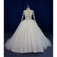 Real Photos Plus Size Ball Gown Wedding Dresses Backless V- N...