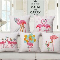 Christmas Flamingo Sofa Cushion Covers Manufacturers Linen Cotton Throw Pillow Covers For Home Decor Party Decoration