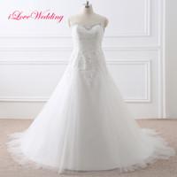 2017 Плюс Размер Свадебные платья для невест с плеча Дешевые выполненные на заказ Crystals Свадебные платья Кружева аппликация бисером Vestidos De NOVIA